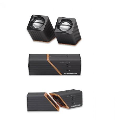 BOXE me bateri te rikarikueshme dhe USB 2x2W Manhattan