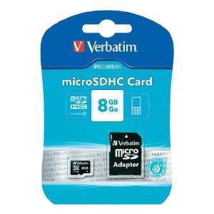 Karte memorie micro SDHC Verbatim 8GB me adaptor